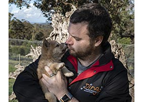 Kevin cuddling a dingo puppy